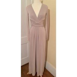 BCBG Grayish Beige Long Sleeve Gown Dress